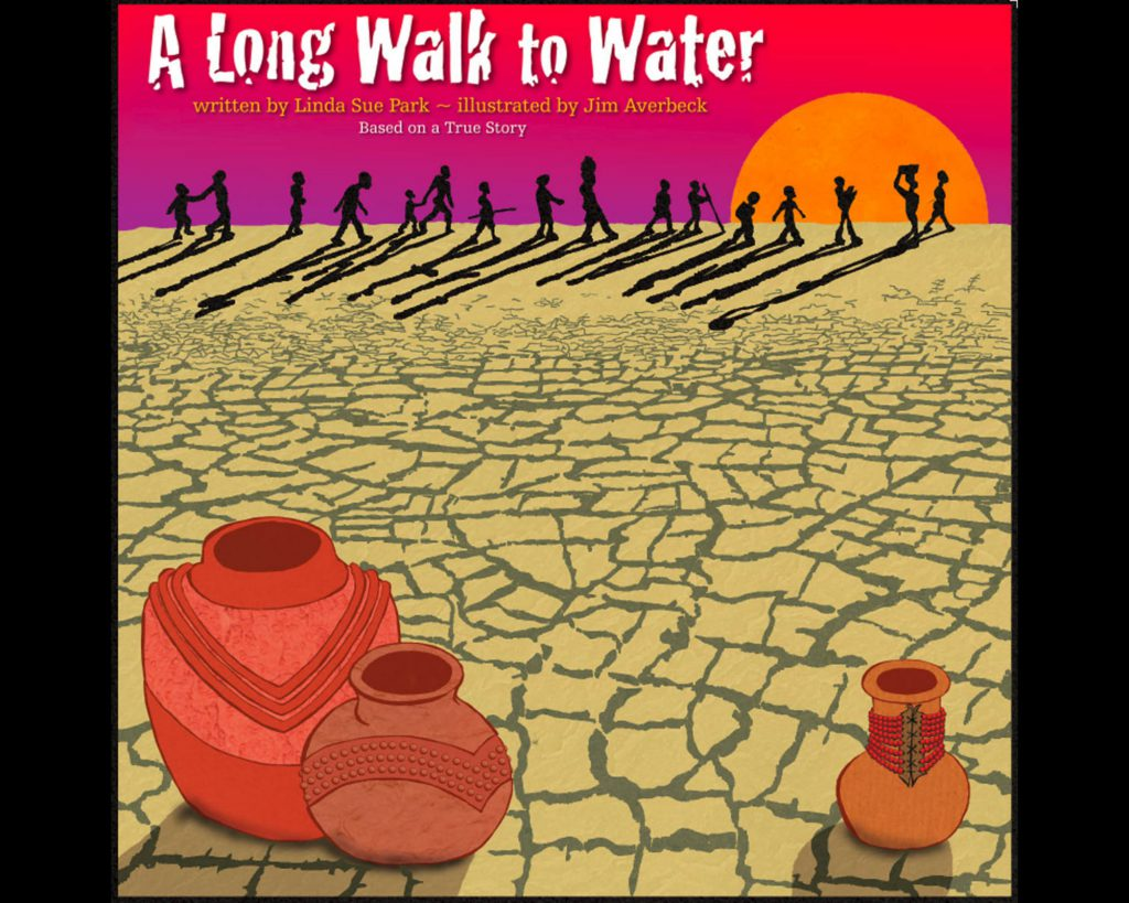 An image of A Long Walk to Water. The majority of the image is of dry, cracked earth, and there are distant silhouettes against a sunset and some water jugs in the foreground.