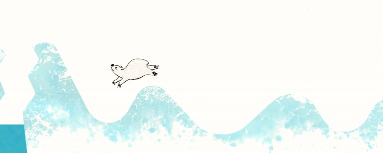 A polar bear leaps along waves of watercolor ice.