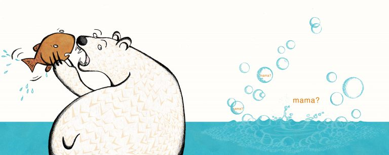 "A polar bear holds a fish, ready to eat it. To her right are bubbles coming up, with orange text reading ""mama?"" in them."