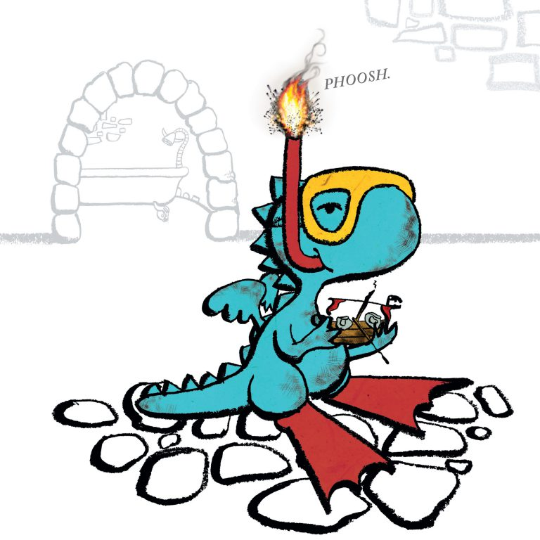 "Little Dragon holds a scorched pirate ship toy. He is wearing swim flippers and a snorkel and goggles. Flames come out of the tip of the snorkel with a ""phoosh""."