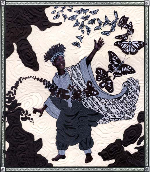 A boy in traditional African dress reaches up towards butterflies. These butterflies appear to have transformed from an inky substance.