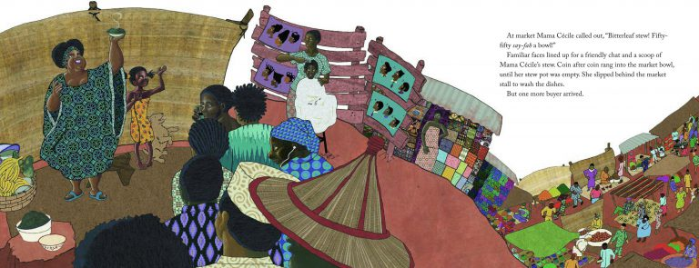 Mama Cecile holds a bowl up in the air, selling her bitterleaf stew. Yoyo stands beside her, and the rest of the page is filled with a colorful market.