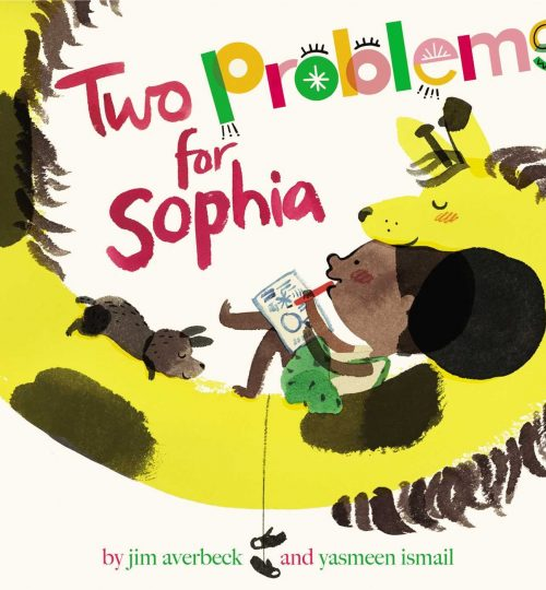 The cover images of Two Problems for Sophia, which shows Sophia writing in a notebook, curled up in the neck of her giraffe.