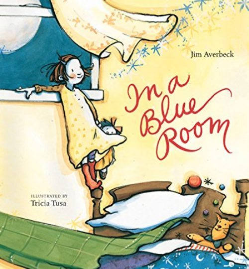 The cover image of In a Blue Room, which shows a little girl in a yellow dress standing on top of her bedpost and against an open window.