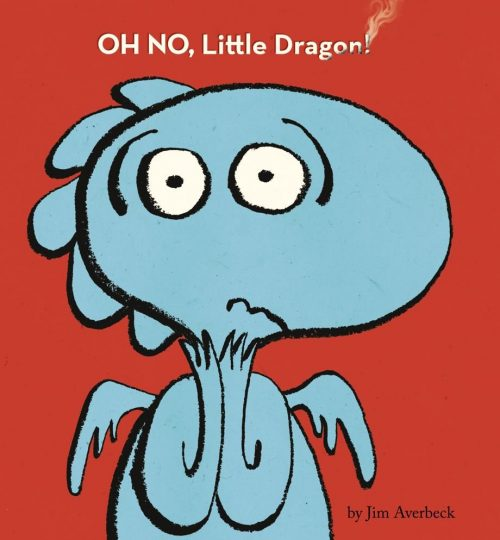 The cover image of OH NO, Little Dragon, which shows a worried-looking blue dragon on a red background.